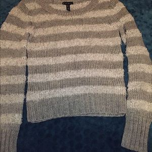 Gray striped fuzzy sweater size small